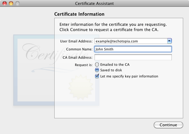 The Keychain Access Certificate Assistant