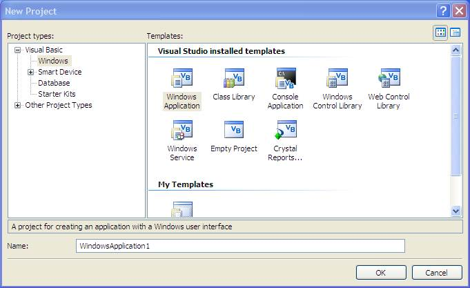 Creating a New Visual Basic Project - Techotopia