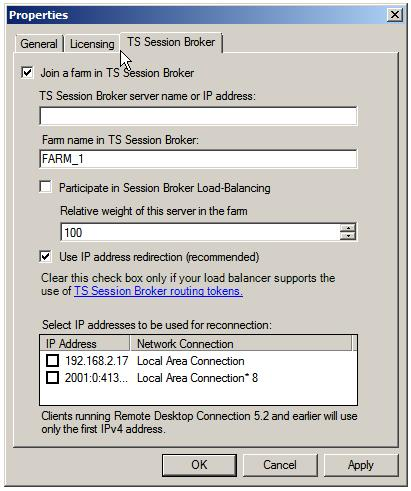 Joining a Terminal Server to a TS Session Broker server farm