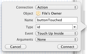 Establishing an Xcode action connection
