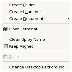 The CentOS Desktop Context menu