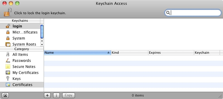 The Mac OS X Keychain access tool