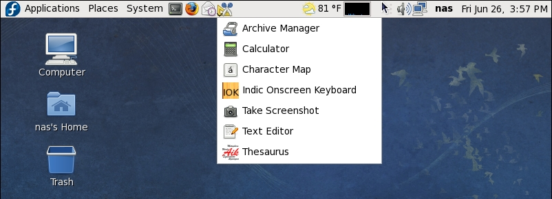 Accessory Menu added as a Icon to the Fedora Panel
