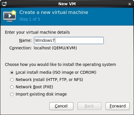 Configuring the name and installation media of an RHEL 6 KVm virtual machine guest
