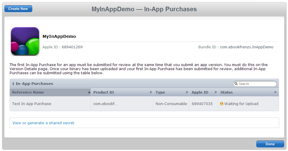 Creating a hosted In App Purchase item in iTunes Connect