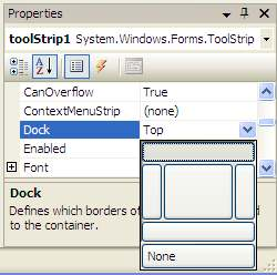 Changing location of C# Toolbar