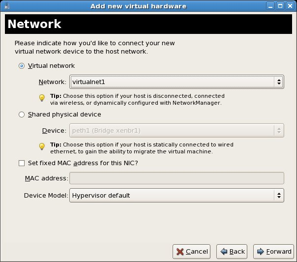 Assigning a new virtual network to a new RHEL Xen VM