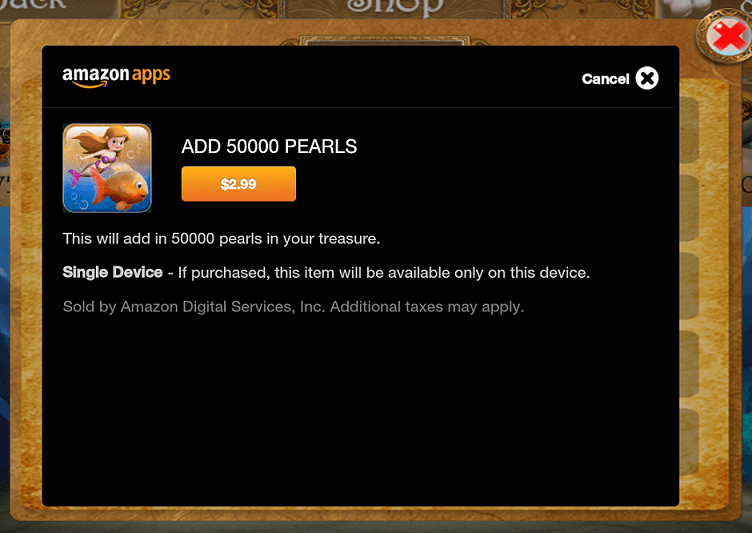 An example Kindle Fire in-app purchase