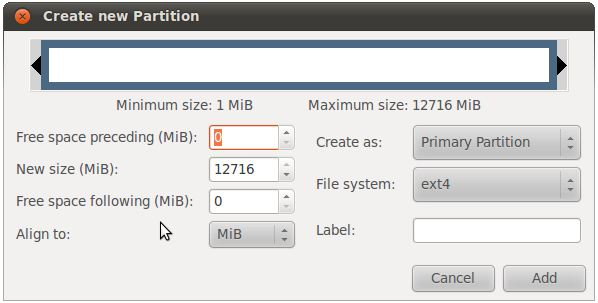 Creating a new Ubuntu disk partition