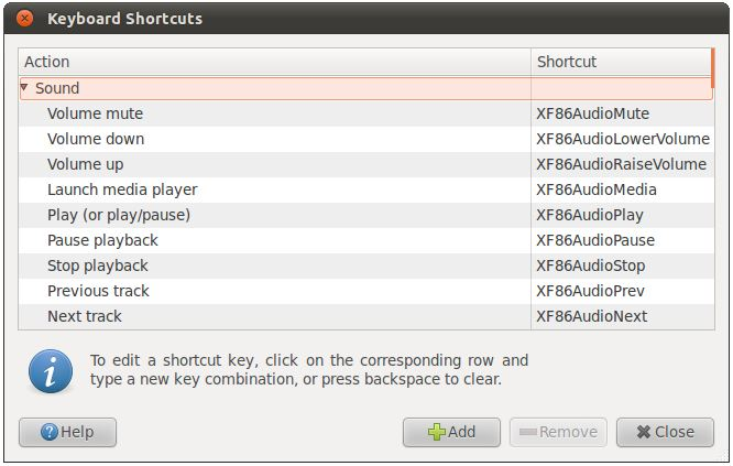 The Ubuntu 11.04 Unity keyboard shortcuts preferences dialog