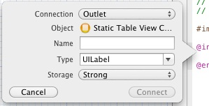 Establishing an outlet connection using the Xcode code assistant