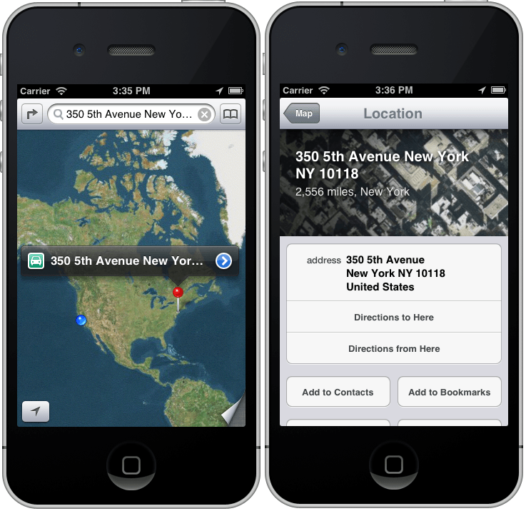 An iOS 6 MKMapItem with an Info Marker