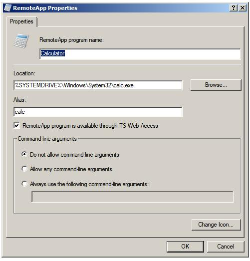 Windows Server 2008 RemoteApp Properties with TS Web Access enabled