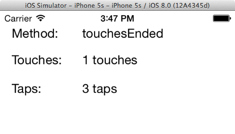 The iOS touch example app running