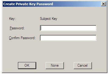 Specifying a private key password for a self signing authority
