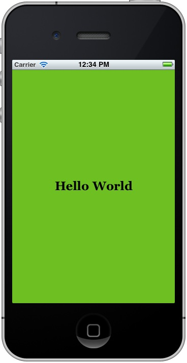 The Xcode 4 iPhone HelloWorld app running
