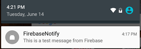 A Firebase remote notification arrives on an Android device