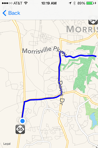 A route drawn on an iOS 7 MapView overlay