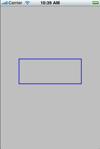 A rectangle drawn on an iOS 4 iPhone view using Quartz 2D