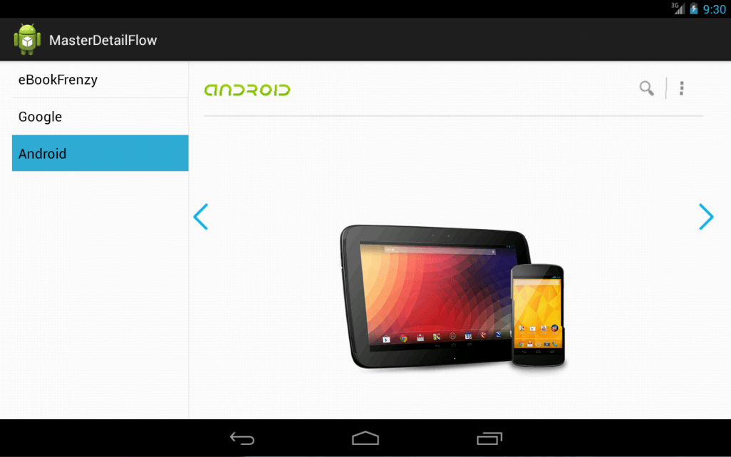 An Android Master/Detail example running in two-pane mode