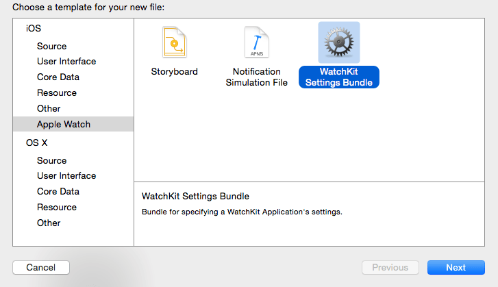 Adding a WatchKit settings bundle to an Xcode project