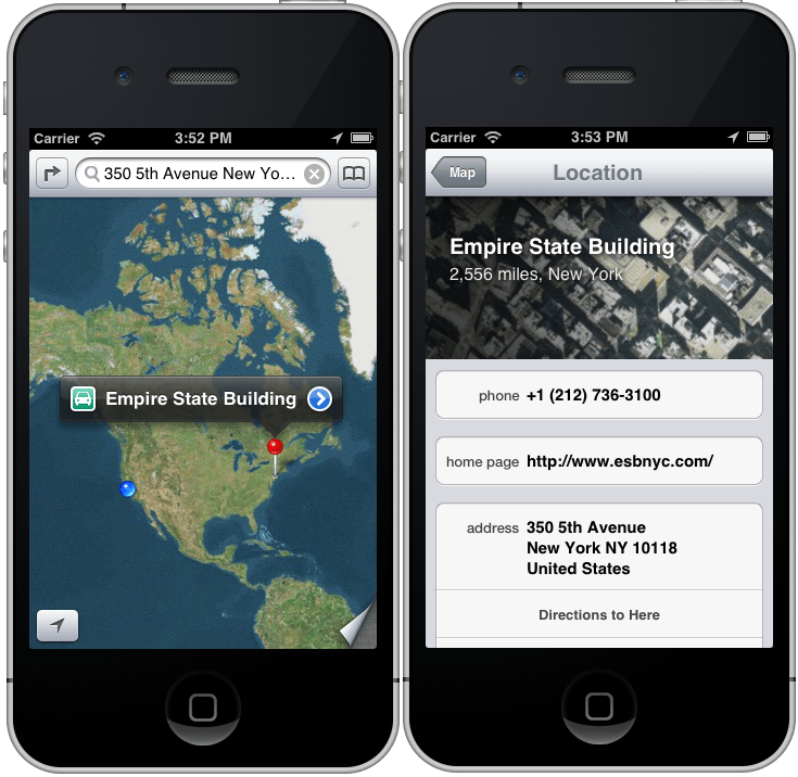 An iOS 6 iPhone MKMapItem with properties