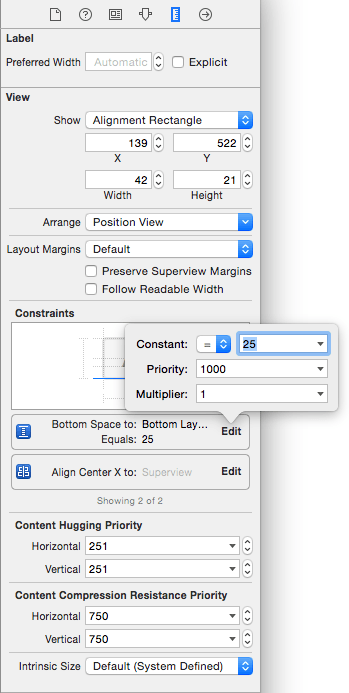 Editing an Auto Layout constraint