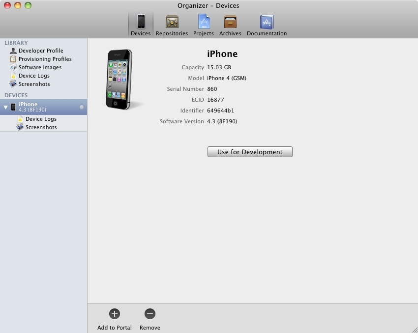 Xcode Organizer Window showing iOS 5 iPhone device