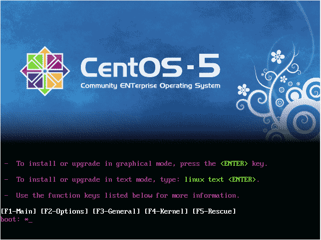 The CentOS installer boot screen