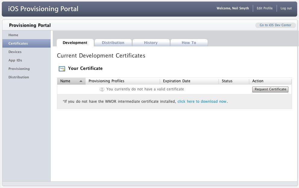 The Apple Developer iOS 6 Certificate Portal