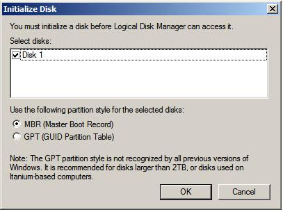 The Windows Server 2008 disk initialization dialog