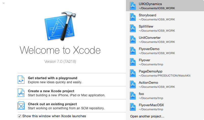 Xcode 7 welcome screen.png