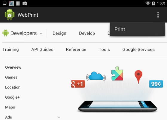 The Print menu option added to the Overflow menu of an Android app
