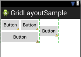 GridLayout cell spanning with vertical center gravity