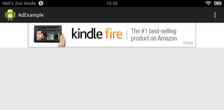 An Amazon Ad running in an Application