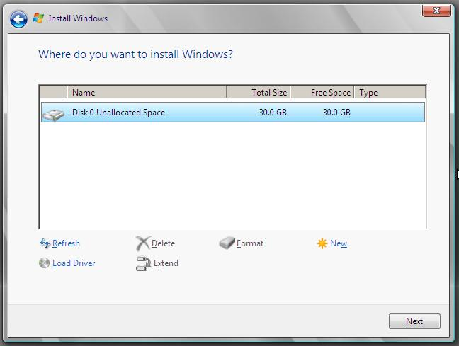 Selecting a Windows Server 2008 installation disk