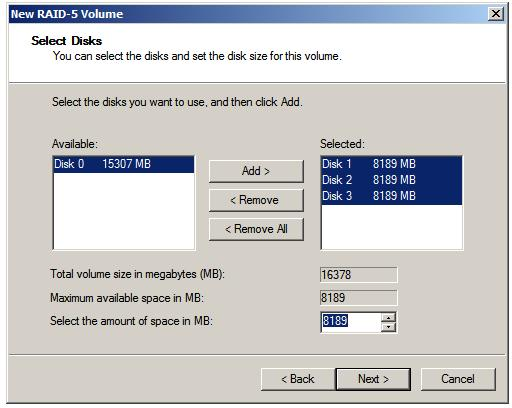 Selecting disks for a Windows Server 2008 RAID 5 configuration