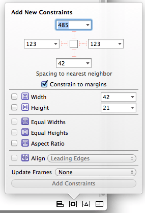 The Xcode Auto Layout Add New Constraint button