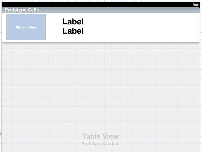 Designing an iPad iOS 5 storyboard prototype cell