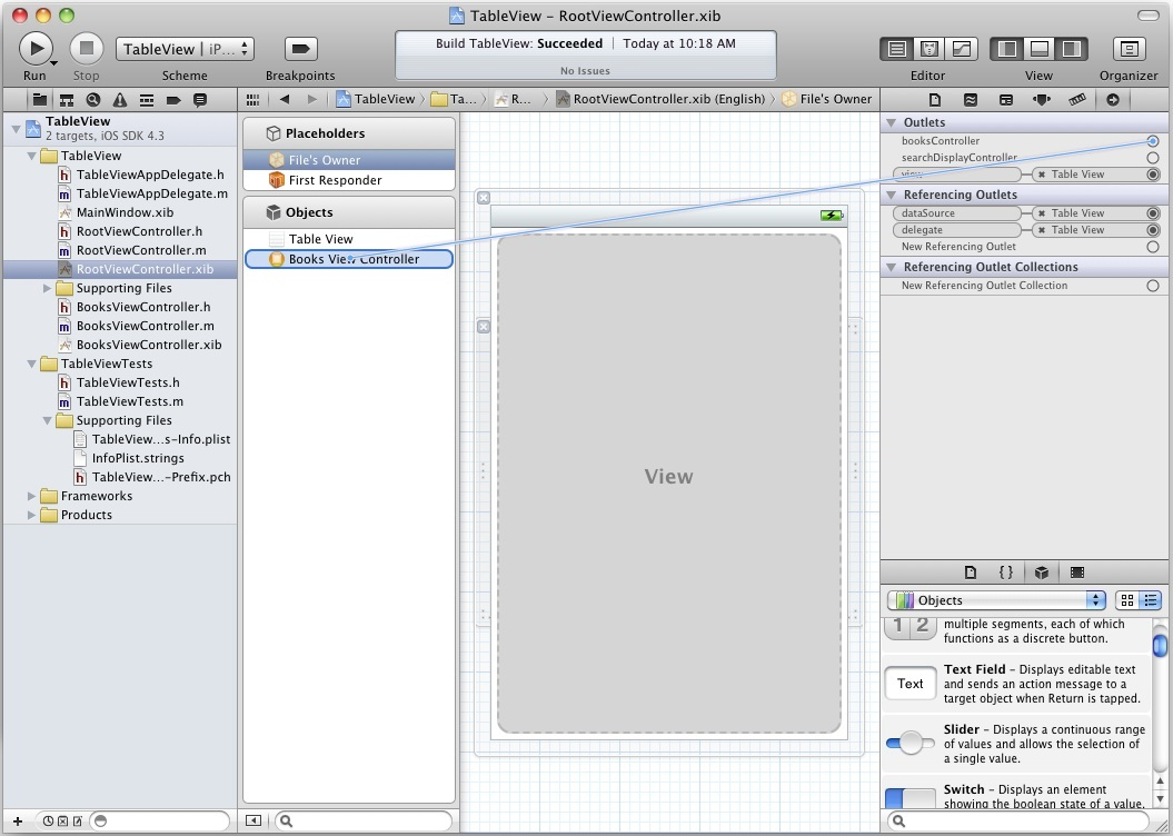 Connecting view controller in iPad Xcode 4 project