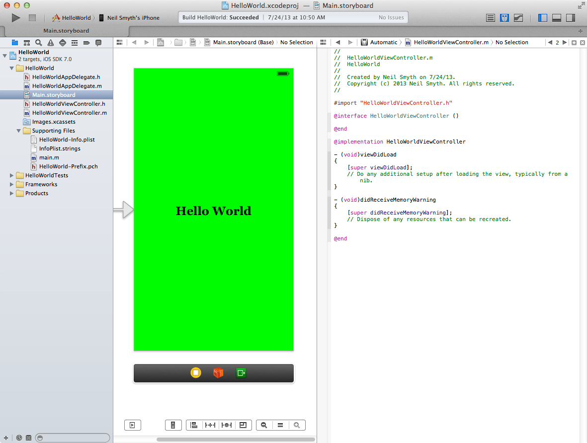 Xcode 5 with the Assistant Editor displayed
