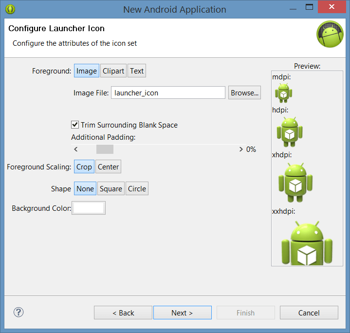 Configuring Launcher icons for a new Android app