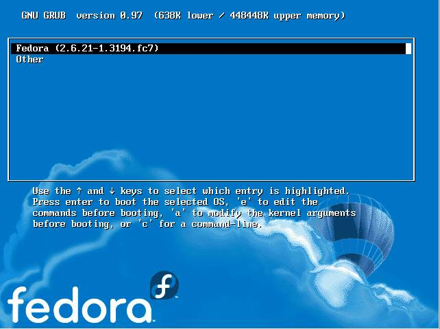 Windows/Fedora Dual Boot Menu