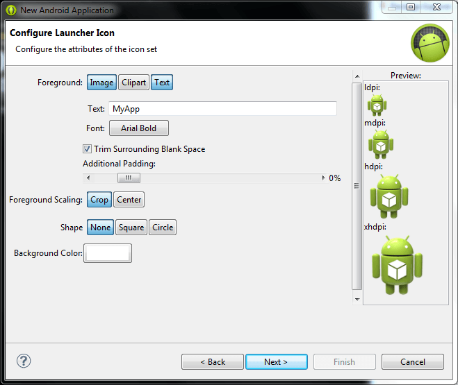 Configuring an Android launcher icon