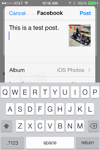 The iOS 7 Facebook integration example app running