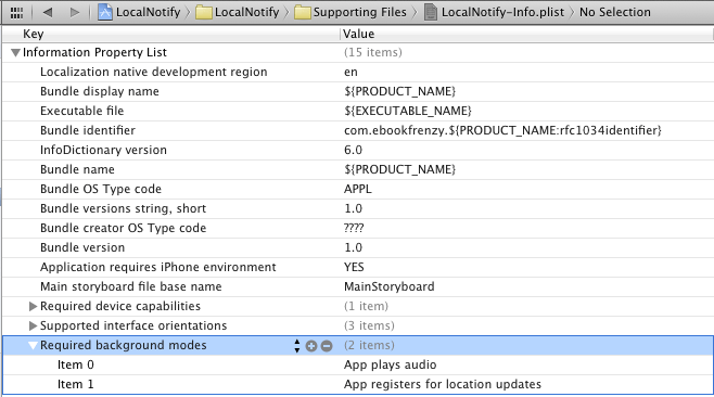 Configuring iOS 6 background modes in Xcode