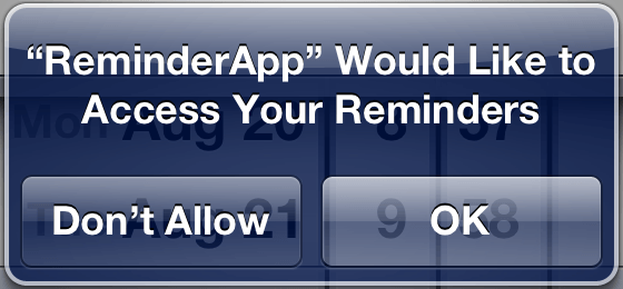 iOS 6 Reminders access permission request