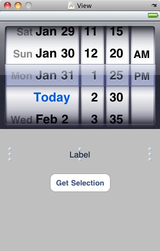 The Interface Builder view of the DatePicker example application