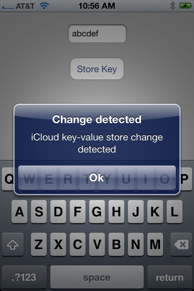 The example iPhone iOS 5 iCloud key-value storage app running