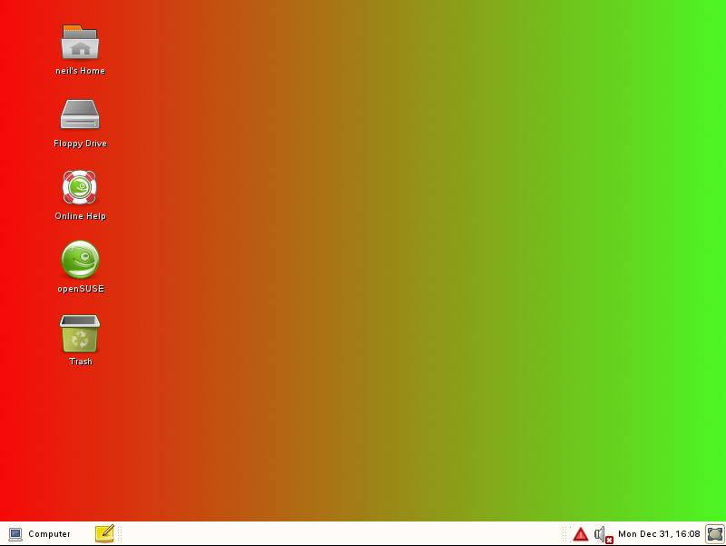 openSUSE Desktop with Gradient background Image